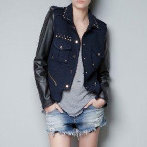 Zara Boucle Tweed Faux Leather Sleeve Jacket